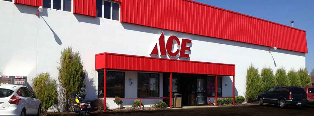 Store front of Ace Hardware and Sports
