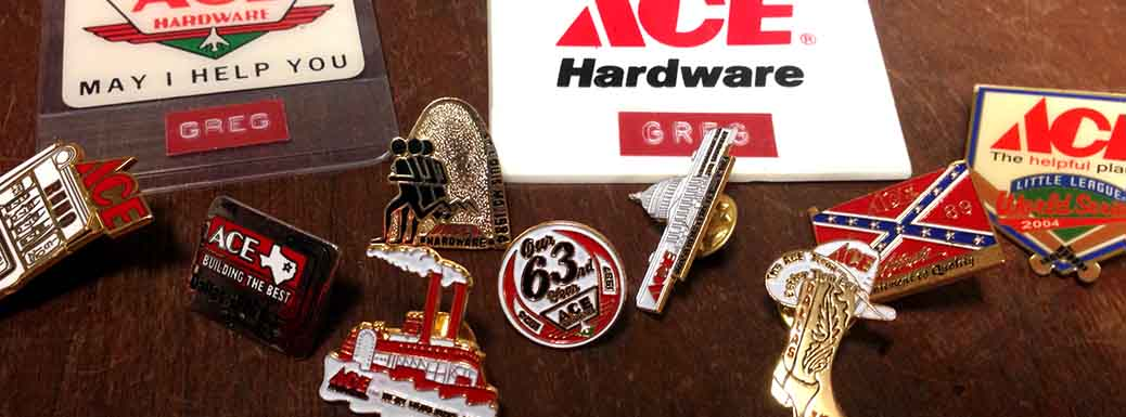 Vintage pins and badges from Ace Hardware